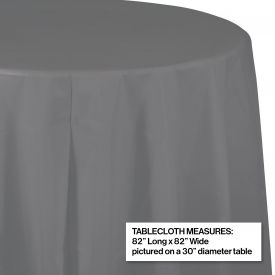 GLAMOUR GRAY OCTY ROUND PLASTIC TABLECLOTH