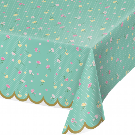 FLORAL TEA PARTY PLASTIC TABLECLOTH