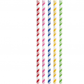 ASSORTED COLORS STRIPED PAPER STRAWS