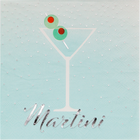 HAPPY HOUR MARTINI GLASS WITH OLIVES BEVERAGE NAPKINS