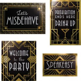 ROARING 20S WALL SIGNS DECORATIONS KIT