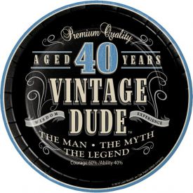 VINTAGE DUDE 40TH BIRTHDAY DESSERT PLATES