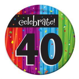 MILESTONE CELEBRATIONS 40TH BIRTHDAY DESSERT PLATES
