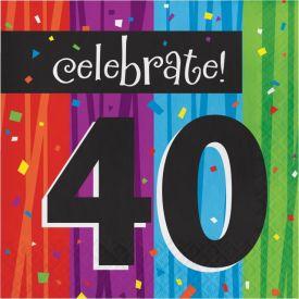 MILESTONE CELEBRATIONS 40TH BIRTHDAY NAPKINS
