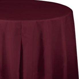 BURGUNDY RED ROUND PLASTIC TABLECLOTH