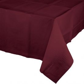BURGUNDY PAPER PLASTIC LINED TABLE COVERS 54