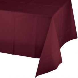 BURGUNDY RED PLASTIC TABLECLOTH