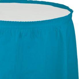 TURQUOISE BLUE PLASTIC TABLESKIRT