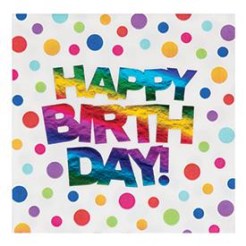 Rainbow Foil Luncheon Napkin, Rainbow Foil Happy Birthday