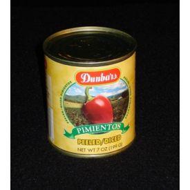 Dunbar Red Peeled/Diced Pimientos 7oz