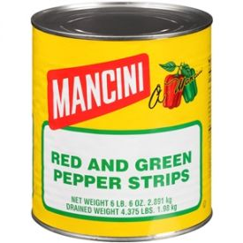 Mancini Red and Green Pepper Strips - 102oz