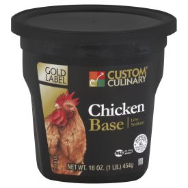 Custom Culinary Gold Label Low Sodium Chicken Base - 1lb