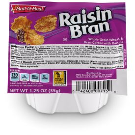 Malt O Meal Raisin Bran Cereal Bowls 1.25oz.