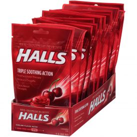 Halls Menthol Cherry Cough Suppressants 30ct