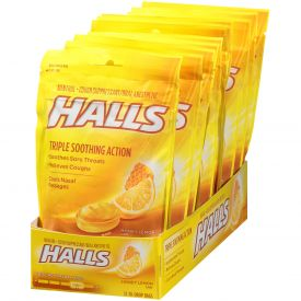 Halls Menthol Honey Lemon Cough Suppressants - 30ct