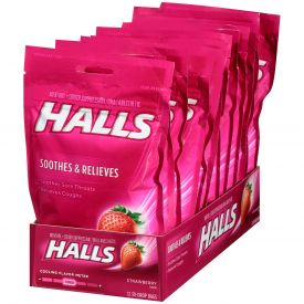 Halls Menthol Strawberry Cough Suppressants - 30ct