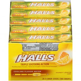 Halls Menthol Honey Lemon Cough Suppressants - 9ct