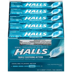 Halls Menthol Sugar-FreeIce Peppermint Cough Suppressants 9ct