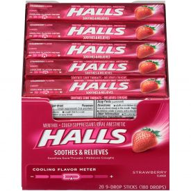Halls Menthol Sugar-Free Strawberry Cough Suppressants 9ct