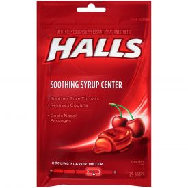 Halls Menthol Cherry Cough Suppressants - 25ct