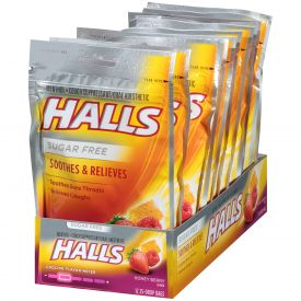 Halls Cough Drops Sugar Free Honey Berry 25 Ct Pack