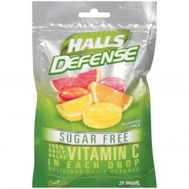 Halls Defense Sugar-Free Assorted Citrus Drops 25ct.