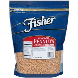 Fisher Dry Roasted Granulated Peanuts No Salt 32oz.