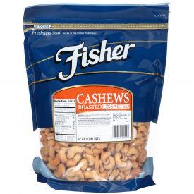 Fisher Roasted Unsalted Whole Cashews 32oz.
