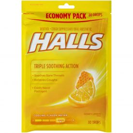 Halls Menthol Honey Lemon Eucalyptus Cough Drops 80ct.