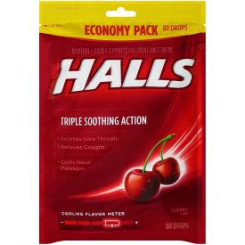 Halls Menthol Cherry Cough Drops 80ct.