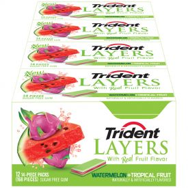 Trident Layers Watermelon and Tropical Fruit Gum - 14ct