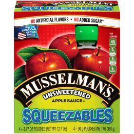 Musselman's Squeezables Unsweetened Applesauce 3.17oz.