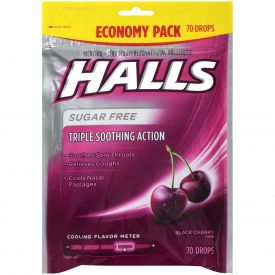 Halls Black Cherry Sugar Free Cough Drops 70ct