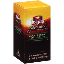 Folgers Gourmet Selection Decaf 100% Colombian Pods 10gm.