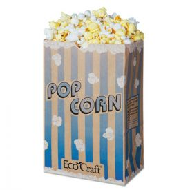 Bagcraft EcoCraft Grease-Resistant Popcorn Bags, 85 oz, 2-ply, 3.25