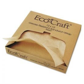 Bagcraft EcoCraft Grease-Resistant Paper Wraps and Liners, Natural, 12 x 12
