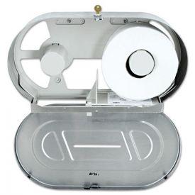 Bobrick Toilet Tissue 2 Roll Dispenser, Satin-Finish Stainless, Jumbo, 20.81 x 5.31 x 11.38