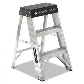 Louisville® Aluminum Step Stool, 2-Step, 17w x 18.25 Spread x 26h, Aluminum/Black