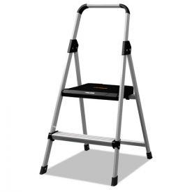 Louisville® Aluminum Step Stool Ladder, 2-Step, 225 lb Capacity, 18.5w x 23.5 spread x 38.5h, Silver
