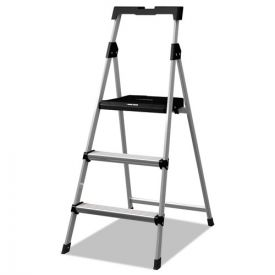 Louisville® Aluminum Step Stool Ladder, 3-Step, 225 lb Capacity, 20w x 31 spread x 47h, Silver