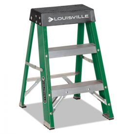 Louisville #624 Folding Fiberglass Locking 2-Step Stool, 17w x 22 x 24h