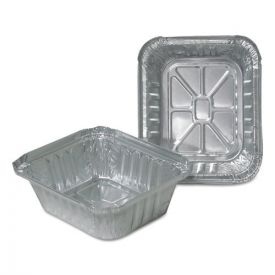 Durable Packaging Aluminum Closeable Containers, 1lb Oblong