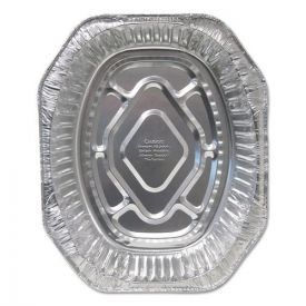Durable Packaging Aluminum Roaster Pans, Extra-Large Oval 100