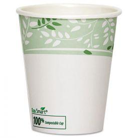 Dixie® PLA Hot Cups, Paper w/PLA Lining, Viridian, 10oz Squat