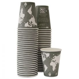 Eco-Products® World Art Renewable & Compostable Hot Cups, 12oz. Gray