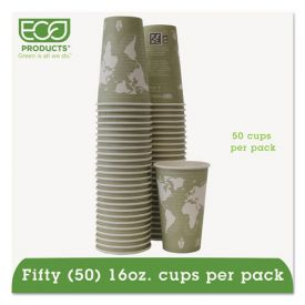 Eco-Products® World Art Renewable & Compostable Hot Cups, 16oz. Moss