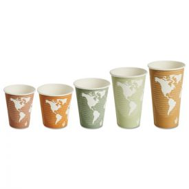 Eco-Products® World Art Renewable & Compostable Hot Cups, 8oz. Plum