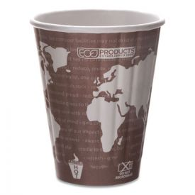 Eco-Products® World Art Renewable and Compostable Insulated Hot Cups, PLA, 8oz.
