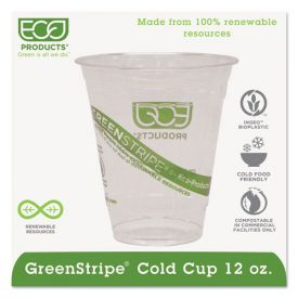 Eco-Products® GreenStripe Renewable & Compostable Cold Cups - 12oz.