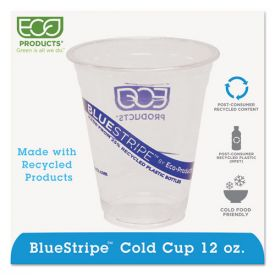 Eco-Products® BlueStripe 25% Recycled Content Cold Cups, 12oz. Clear/Blue